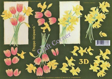 Daffodil & Tulip Flowers 3d Decoupage Sheet